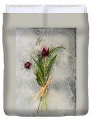 Flowers Frozen In Ice Duvet Cover