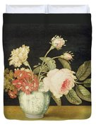 Flowers In A Delft Jar  Duvet Cover by Alexander Marshal