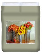 Flowers In Cans Duvet Cover