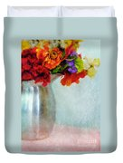 Flowers In Metal Pitcher Duvet Cover