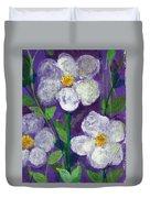 Flowers In Moonlight Duvet Cover