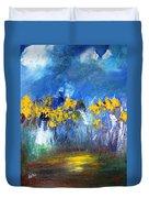 Flowers Of Maze In Blue Duvet Cover