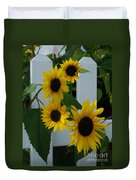 Flowers On A Fence Duvet Cover