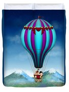 Flying Pig - Balloon - Up Up And Away Duvet Cover