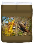Flying Wild Turkey Escapes Thanksgiving Duvet Cover