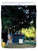 Folk Art Yard And Tree Duvet Cover