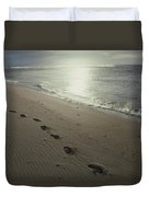 Footprints In The Sand On A Beach Duvet Cover