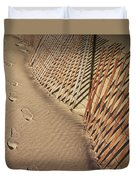 Footprints On The Beach Along A Fence Duvet Cover