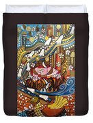 Footsteps To Peace Colorful Abstract Symbolism With Urban Cityscape Path Tracks Bird Dove Duvet Cover