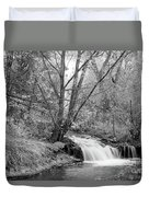 Forest Creek Waterfall In Black And White Duvet Cover