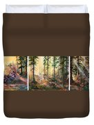 Forest Light Triptych Duvet Cover
