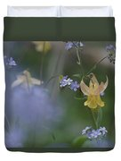 Forget-me-not And Yellow Columbine Duvet Cover