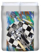 Forks On Checker Plate Duvet Cover