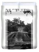 Forsyth Park Fountain - Black And White Duvet Cover