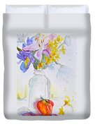 Forsythia And Ghost Daisies Duvet Cover