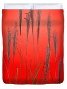 Fountain Grass In Red Duvet Cover