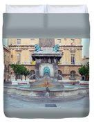 Fountain In Arles France Duvet Cover
