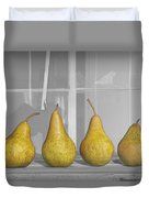 Four Pears On Windowsill Duvet Cover