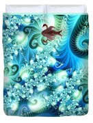 Fractal And Swan Duvet Cover by Odon Czintos
