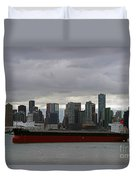 Freighter In Port Duvet Cover