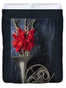 French Horn With Gladiolus Duvet Cover