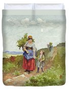 French Peasants On A Path Duvet Cover by Daniel Ridgway Knight