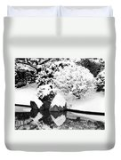 Fresh Snow And Reflections In A Japanese Garden 1 Duvet Cover