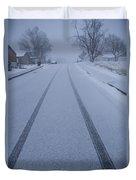 Fresh Tire Tracks In The Snow Duvet Cover