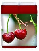 Fresh Wet Cherries Duvet Cover