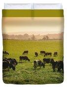 Friesian Cattle Cattle Grazing Duvet Cover