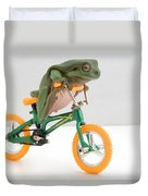 Frog On A Bicycle Duvet Cover