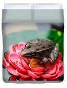Frog On Lily Pad Two Duvet Cover