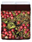 Frog Peaks Up Through Cranberries In Bog Duvet Cover
