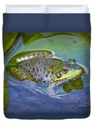 Frog Resting On A Lily Pad Duvet Cover