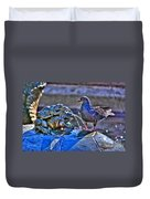 Frogs And A Pigeon Duvet Cover