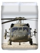 Front View Of A Uh-60l Black Hawk Duvet Cover by Terry Moore