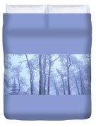 Frost Covered Trees In Fog, Alaska Duvet Cover