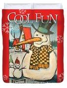 Frosty Family Poster Duvet Cover