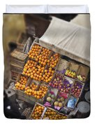 Fruit Vendor In The Kahn Duvet Cover by Mary Machare