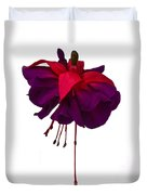 Fuchsia On White Duvet Cover by Dawn OConnor