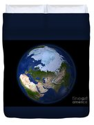 Full Earth Showing The Arctic Region Duvet Cover by Stocktrek Images