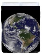 Full Earth Showing Two Tropical Storms Duvet Cover