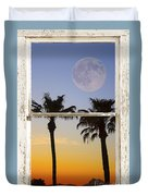 Full Moon Palm Tree Picture Window Sunset Duvet Cover