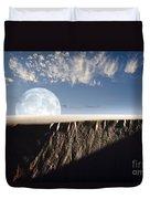 Full Moon Rising Above A Sand Dune Duvet Cover