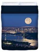 Full Moonrise Over Vancouver, British Duvet Cover