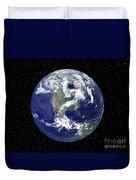 Fully Lit Earth Centered On North Duvet Cover by Stocktrek Images
