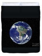 Fully Lit Earth Centered On South Duvet Cover by Stocktrek Images