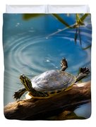 Funny Turtle Catching Some Rays Duvet Cover