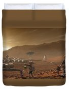 Future Mars Colonists Playing Duvet Cover