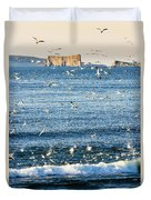 Gannets In Flight And Perce Rock Duvet Cover